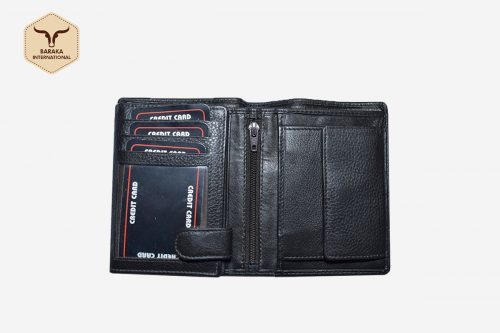 BI-25001 | Cow Nappa Leather Wallet With Center Zip and RFID Blocking